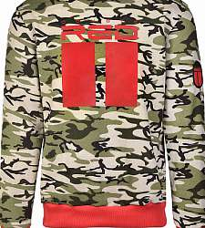 mikina s kapucí DOUBLE RED All Logo Green Camo/Red