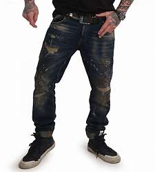 jeans Yakuza 420 Straight JEB 17056 Blue Gold Paint Destroyed