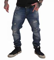jeans Yakuza 420 Straight JEB 17059 Mid Blue Paint Destroyed